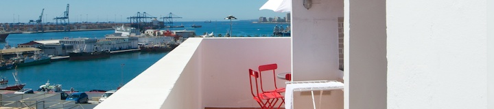 "impressive panorama from the sun-terrace of ""Juan Rejon Attico apartment rental in Las Palmas de Gran Canaria"